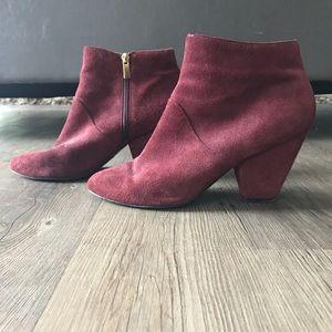 Burgundy Booties (Faux Suede)